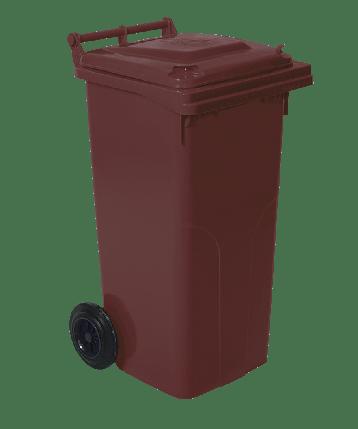 Бак для мусора на колесах с ручкой 120 л темно-коричневый, фото 2