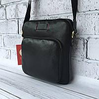 Мужская кожаная сумка Vittorio Safino барсетка, планшетка через плечо из натуральной кожи, Черная VS 022