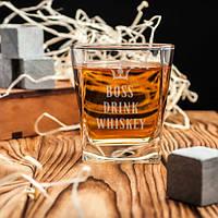 Стакан для виски Boss drink whiskey квадратный 250 мл (7166)