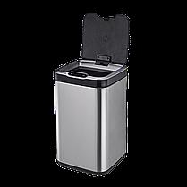 Сенсорное мусорное ведро JAH 7 л квадратное тёмно-серебряный металлик с внутренним ведром, фото 2