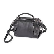 Жіноча чорна сумка з натуральної шкіри через плече легка шкіряна міні сумочка крос боді чорного кольору