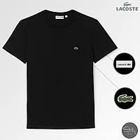 Мужская футболка стильная Lacoste (реплика) лето. Цвет: черный