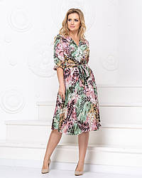 Легкое штапельное платье на запах размеры 48-50, 50-52