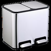 Ведро для сортировки мусора JAH 18 л прямоугольное с педалью и внутренним ведром серебряный металлик