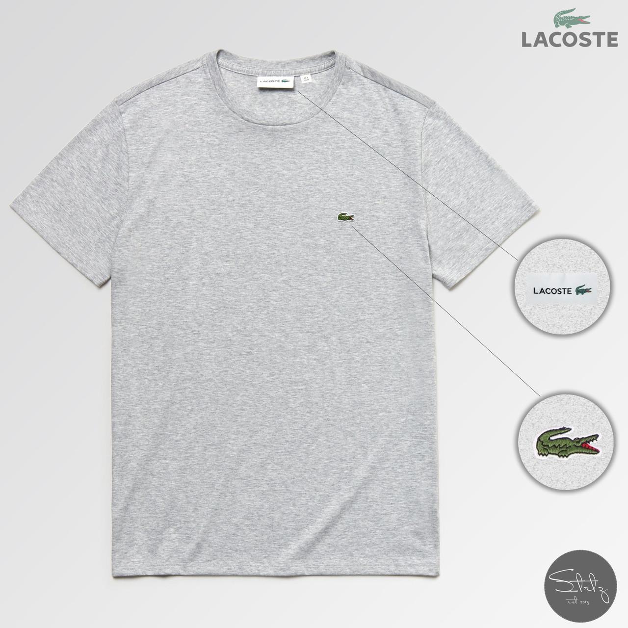 Мужская футболка стильная Lacoste (реплика) лето. Цвет: серый