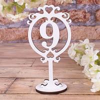 Хит! Свадебный Номерок на Стол из дерева, Цифра 9, размер 17х9 см