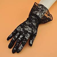 Черные кружевные перчатки А-1132, фото 1
