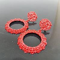 Серьги женские круглые в стиле Zara красный (Vit-krug-red) #B/E