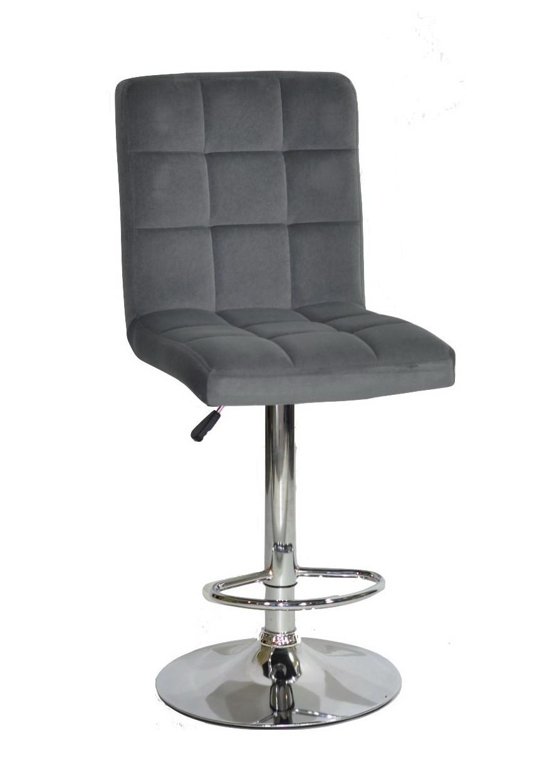 Барный стул Августо серый бархат на хром базе