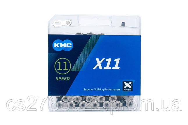 Цепь 11 ск. 118зв. silver/black KMC X11 с замком NEW BOX, фото 2