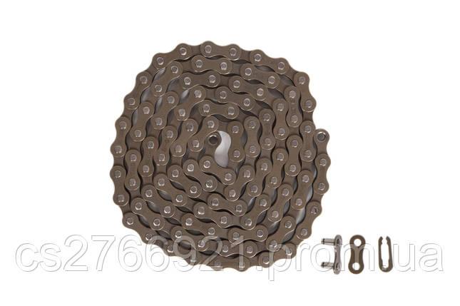 Цепь 1ск. 110зв. brown/brown КМС S1 с замком, фото 2