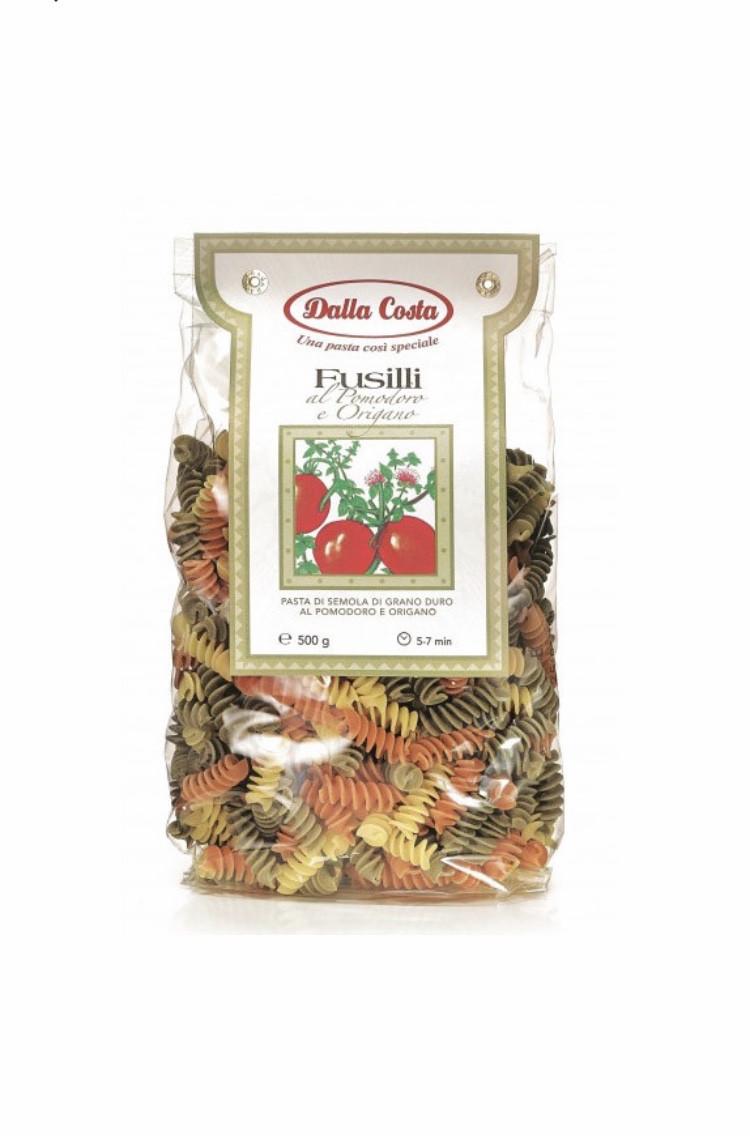 Макарони DALLA COSTA Fusilli tricolor з томатом і орегано 500 г