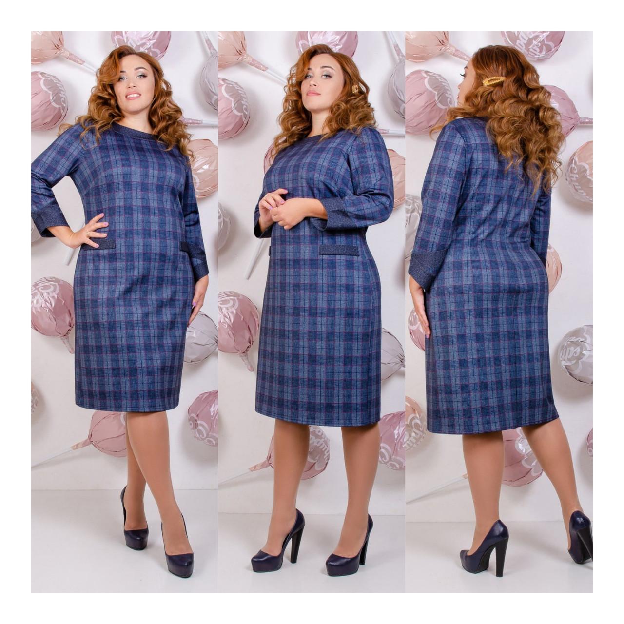 Платье приталенного кроя с карманами из качественной ткани, большие размеры р.52,54,56,58 055Й
