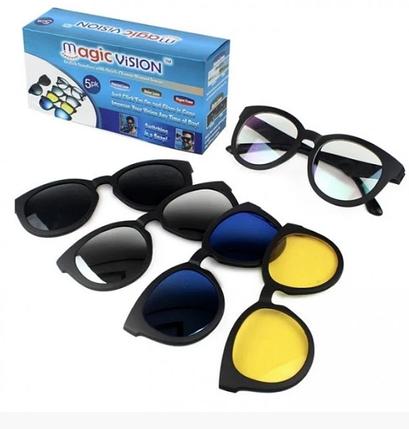 Солнцезащитные очки антибликовые на магнитах с 5 насадками Magic Vision, желтые, синие, зеркальные, черные, фото 2