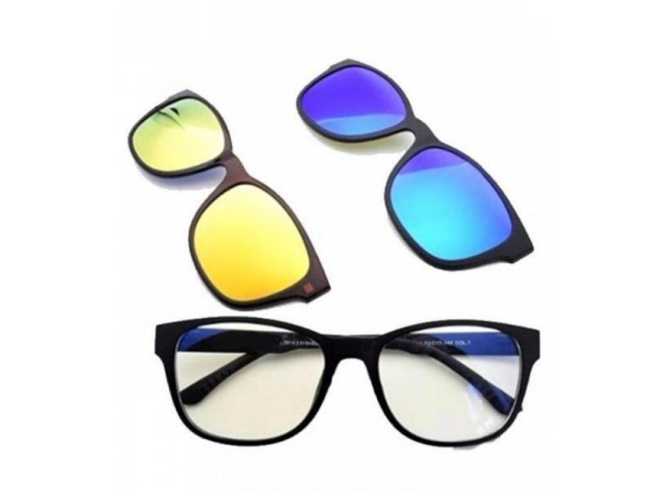 Солнцезащитные очки антибликовые на магнитах с 5 насадками Magic Vision, желтые, синие, зеркальные, черные