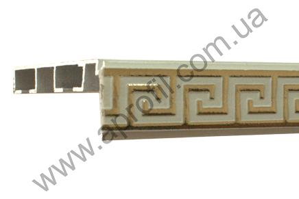 """Карниз для штор алюминиевый потолочный """"Модель 05М""""песочный с широким декоративным молдингом."""
