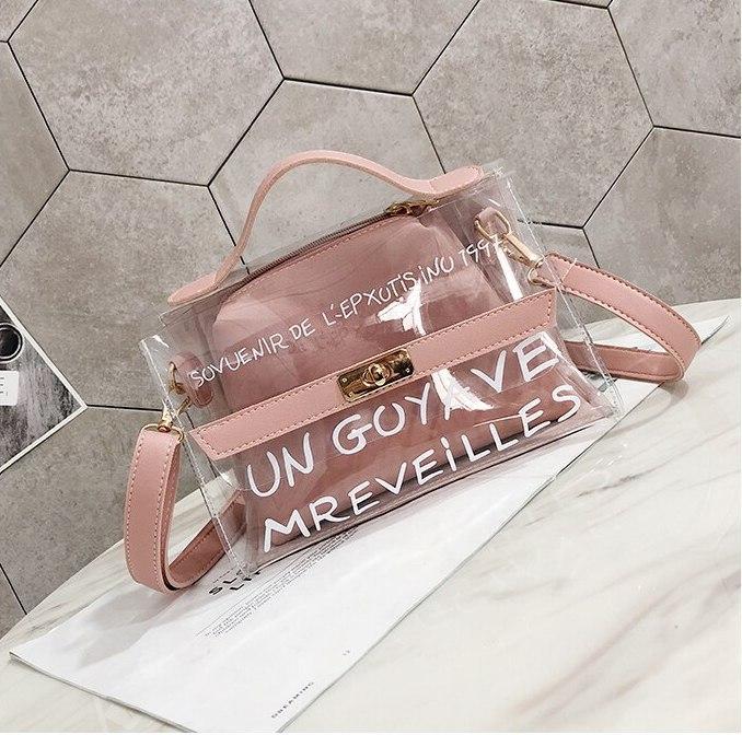 Прозрачная сумка с косметичкой Эрика 2в1, Силиконовый клатч с надписью, Женские мини сумки Опт 2020AL-3630-30