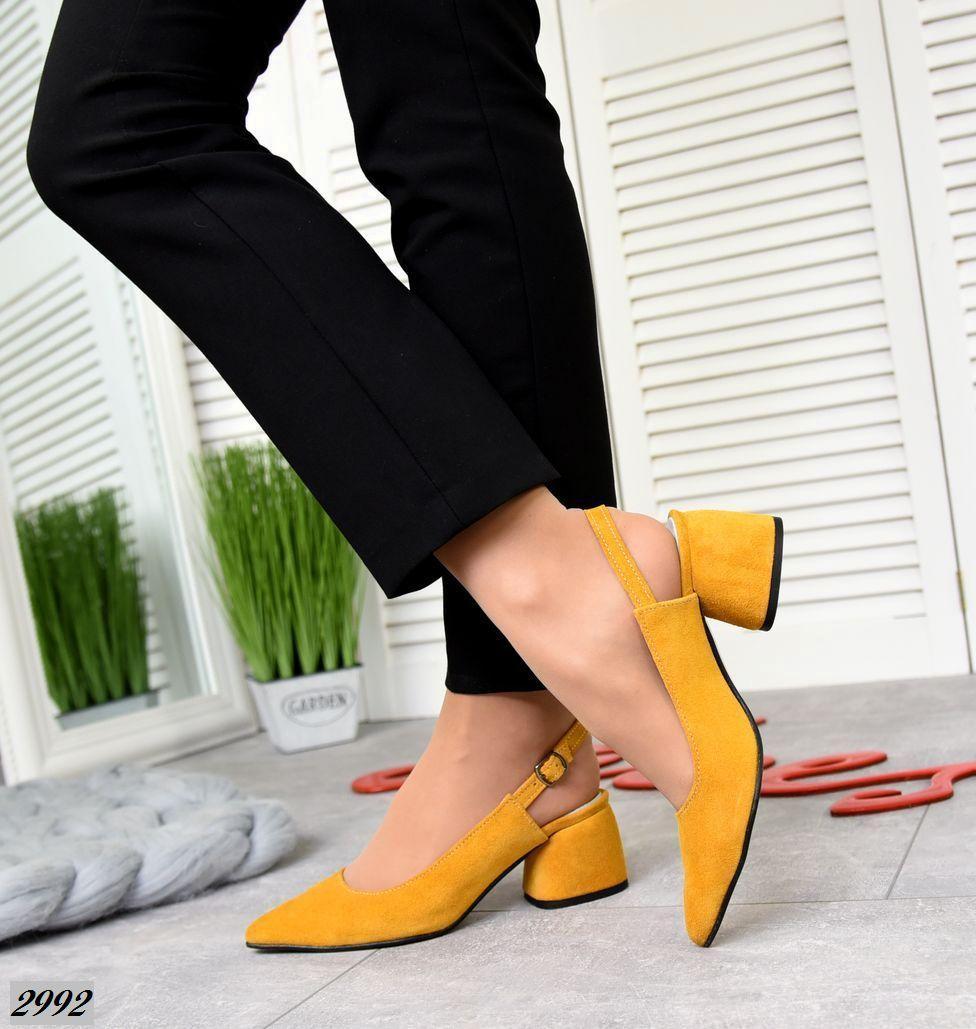 Женские туфли горчичные, натуральная замша (в наличии и под заказ 3-14 дней)