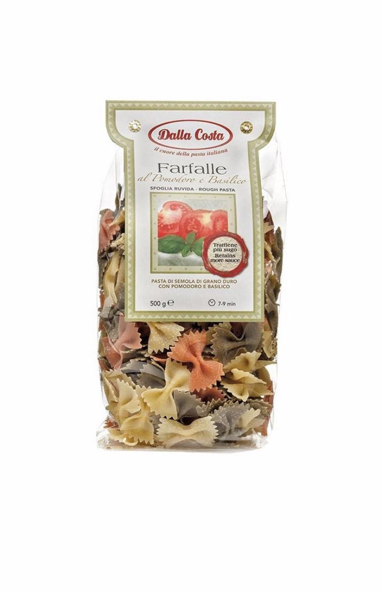Макарони DALLA COSTA Farfalle tricolor з томатом і базиліком 500 г