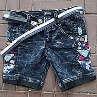 Подростковые джинсовые шорты для девочки с аппликацией 8-12 лет,синего цвета