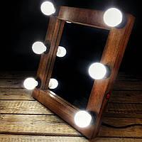 Гримерное зеркало визажиста для макияжа с подсветкой,лампами лед, LED Нет, Коричневый