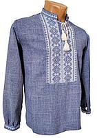 Льняная мужская Рубашка Вышиванка Для Пары серая р. 42 - 58