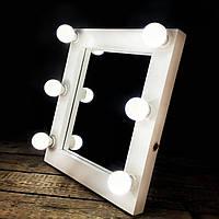 Гримерное зеркало визажиста для макияжа с подсветкой,лампами лед, LED Нет, Белый
