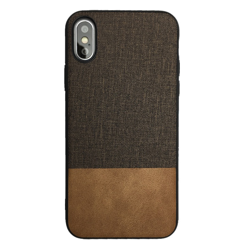 Чехол  Fabric Leather Gentleman for Apple iPhone XS (brown)