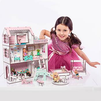 """Кукольный домик NestWood """"МИНИ ДАЧА"""" для кукол LOL (ЛОЛ), 5 комнат (этаж - 15см)+ Мебель 9 ед."""