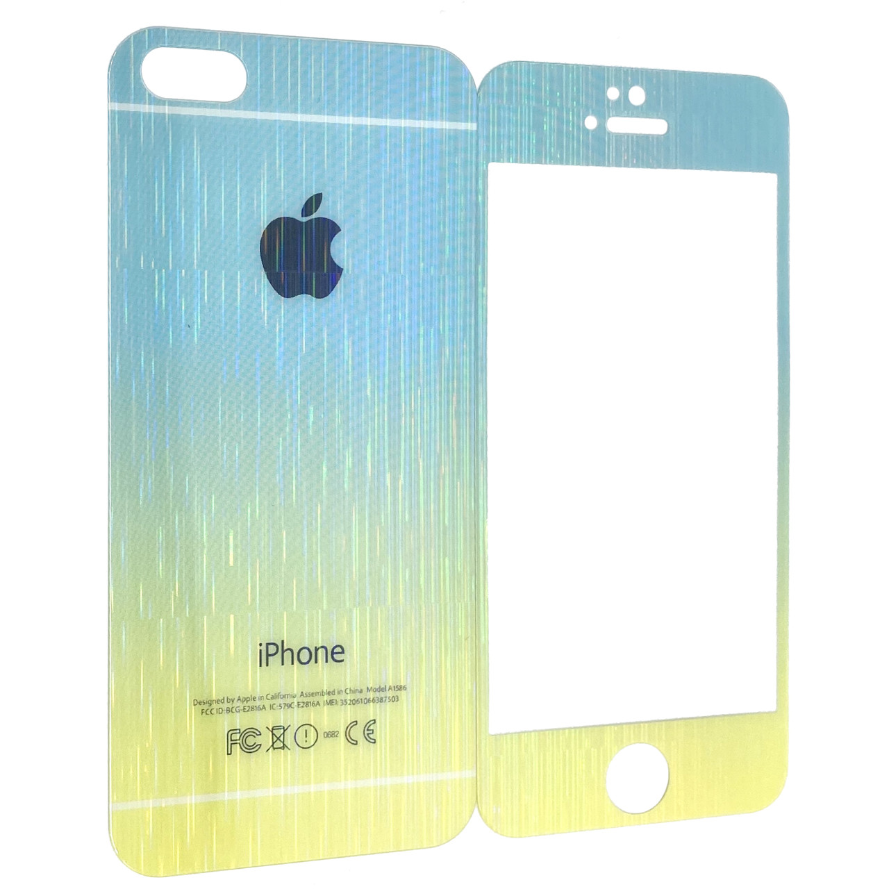 Защитное стекло Apple iPhone 5/5S радуга градиент back/face (yellow/blue)