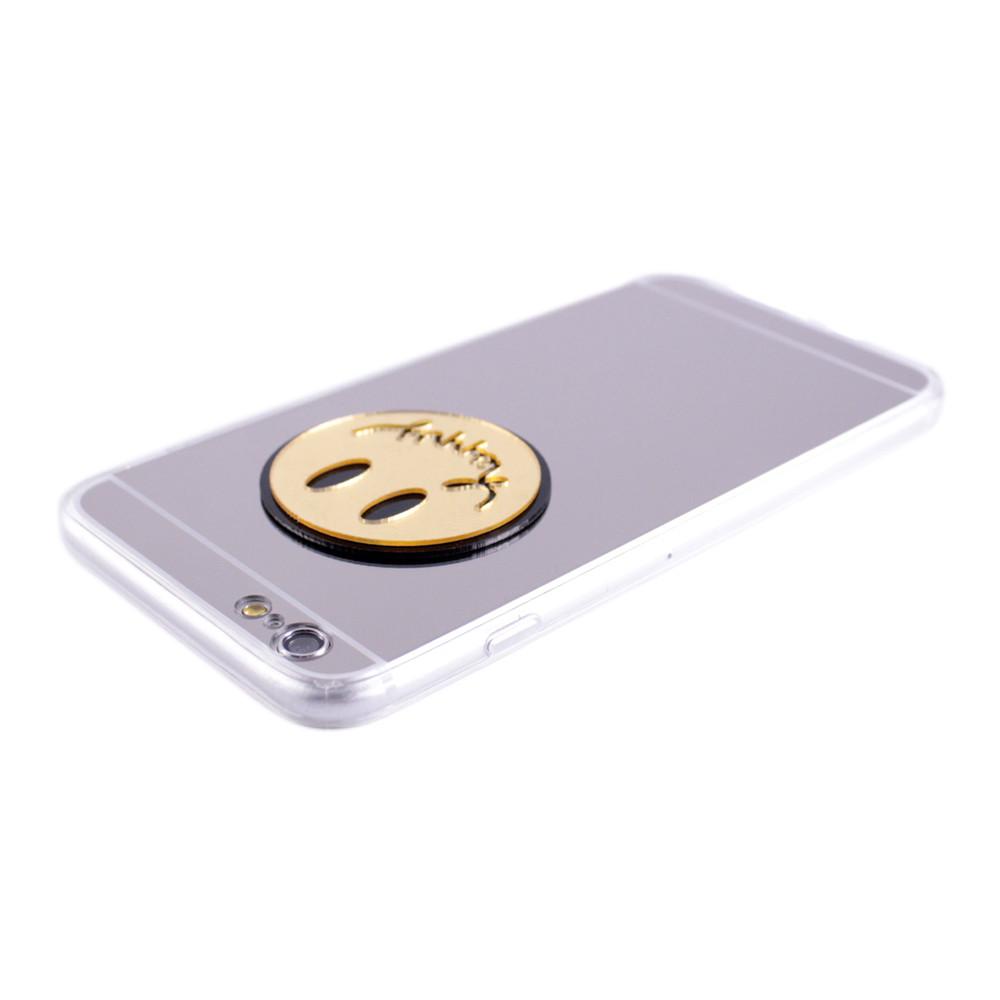 Чехол  с бортами зеркало Smile Happy for Apple iPhone 6 Plus silver