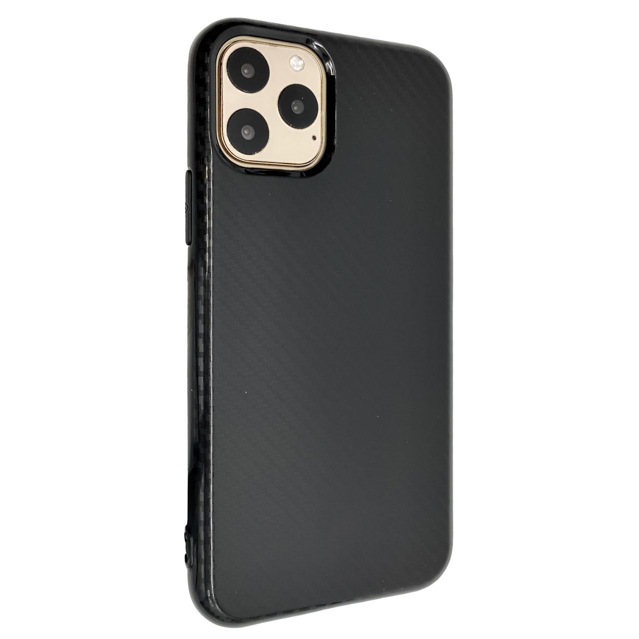 Чехол Silicone Carbon Glance Apple iPhone 11 Pro Max (black)