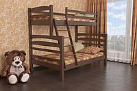 Двухъярусная кровать Деревянная массив сосны 140х90х200 Кай MECANO цвет Темный орех 12MKR01