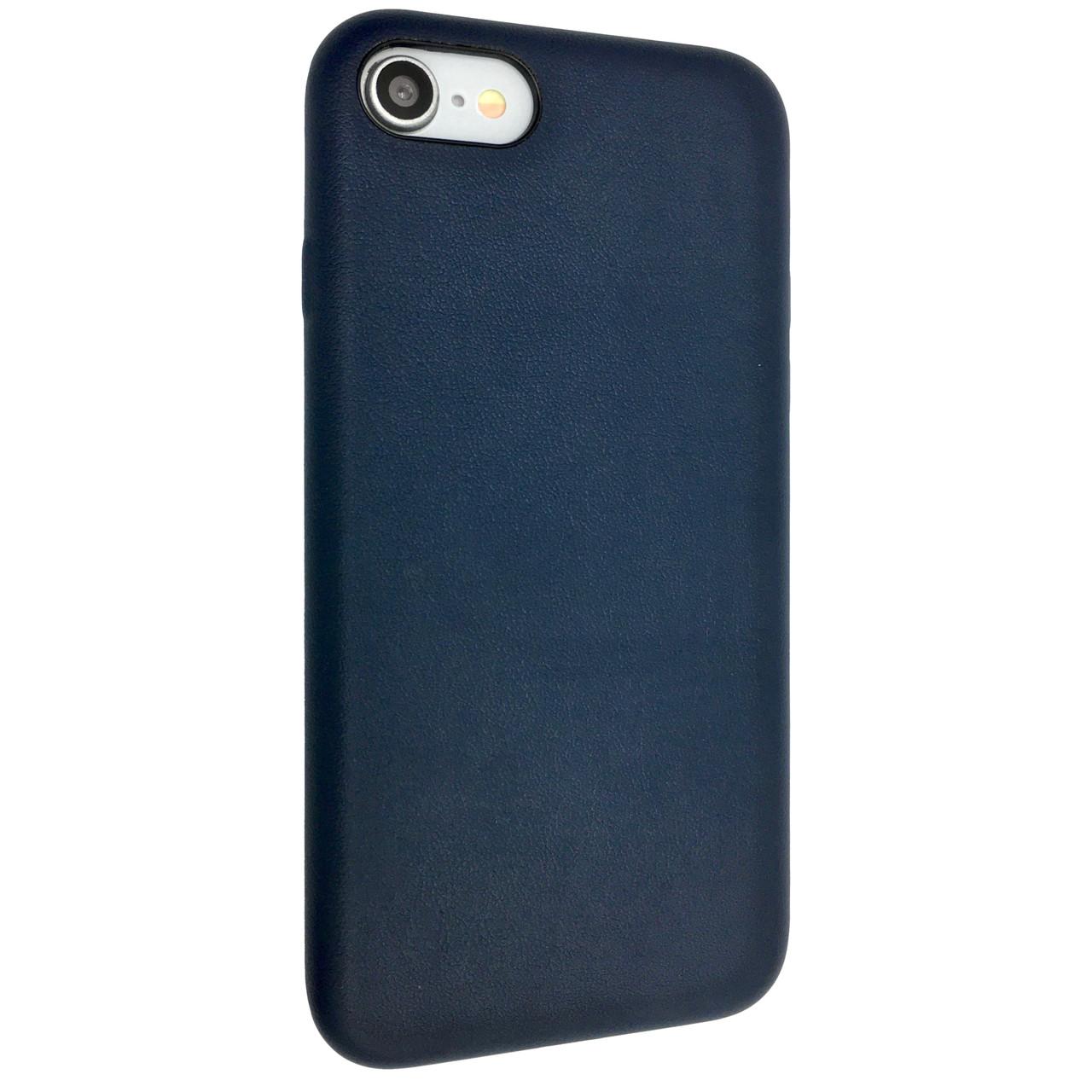 Чехол  кожа закрытый for Apple iPhone 7 (dark blue)