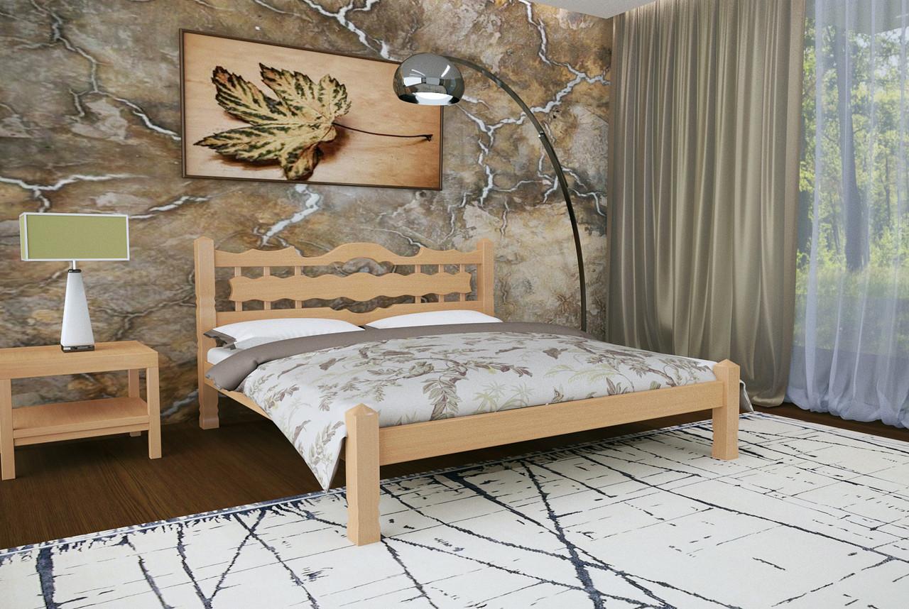 Кровать Двуспальная из дерева сосна 160*190 Арис MECANO цвет Светлый орех 2MKR011