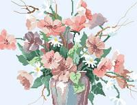 Схема на канве для вышивки крестом Цветы в вазе Ркан 3022