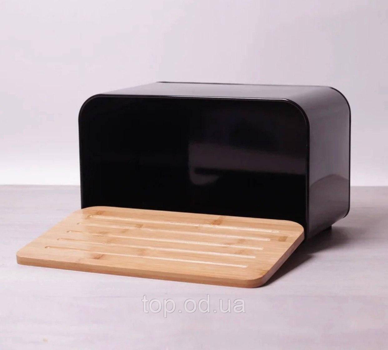 Хлебница Kamille 35*20*21.5см из нержавеющей стали с бамбуковой крышкой