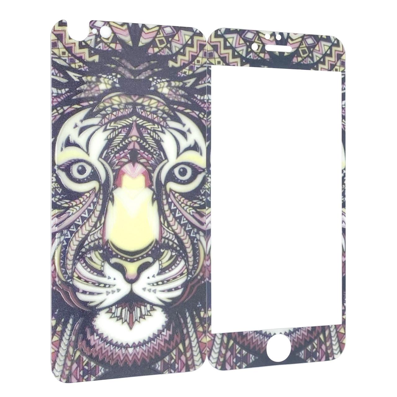 Защитное стекло  for Apple iPhone 6/6S LUXO Animal back/face тигр