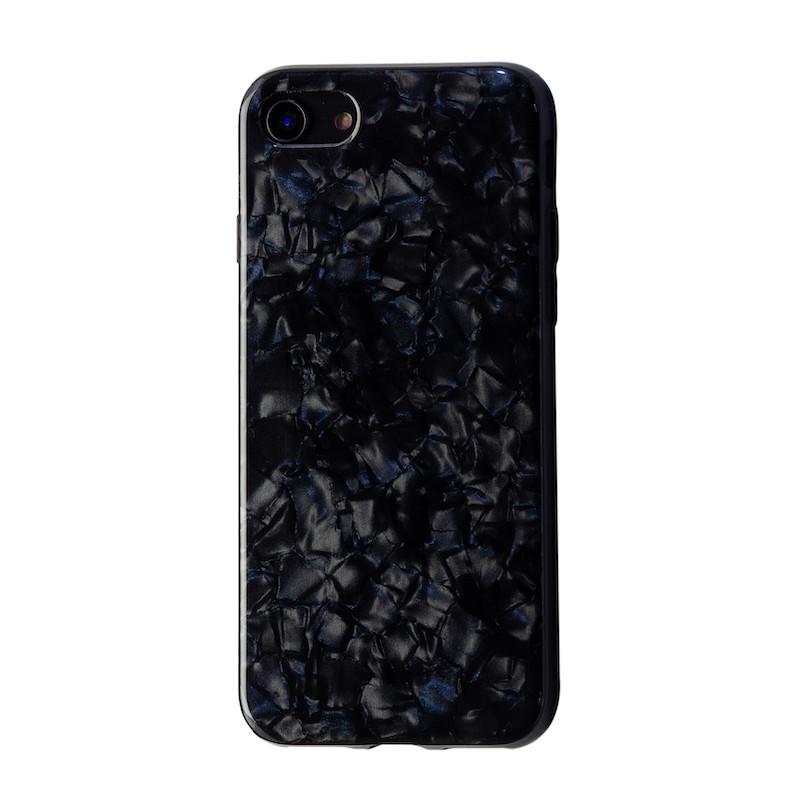 Чехол  силкон лак Мрамор for Apple iPhone 7/8 (black)