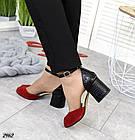 Женские босоножки красные, натуральная замша + кожа под питона, фото 3