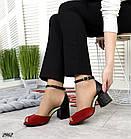Женские босоножки красные, натуральная замша + кожа под питона, фото 4