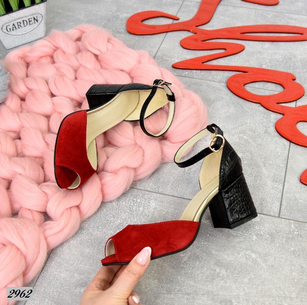 Женские босоножки красные, натуральная замша + кожа под питона