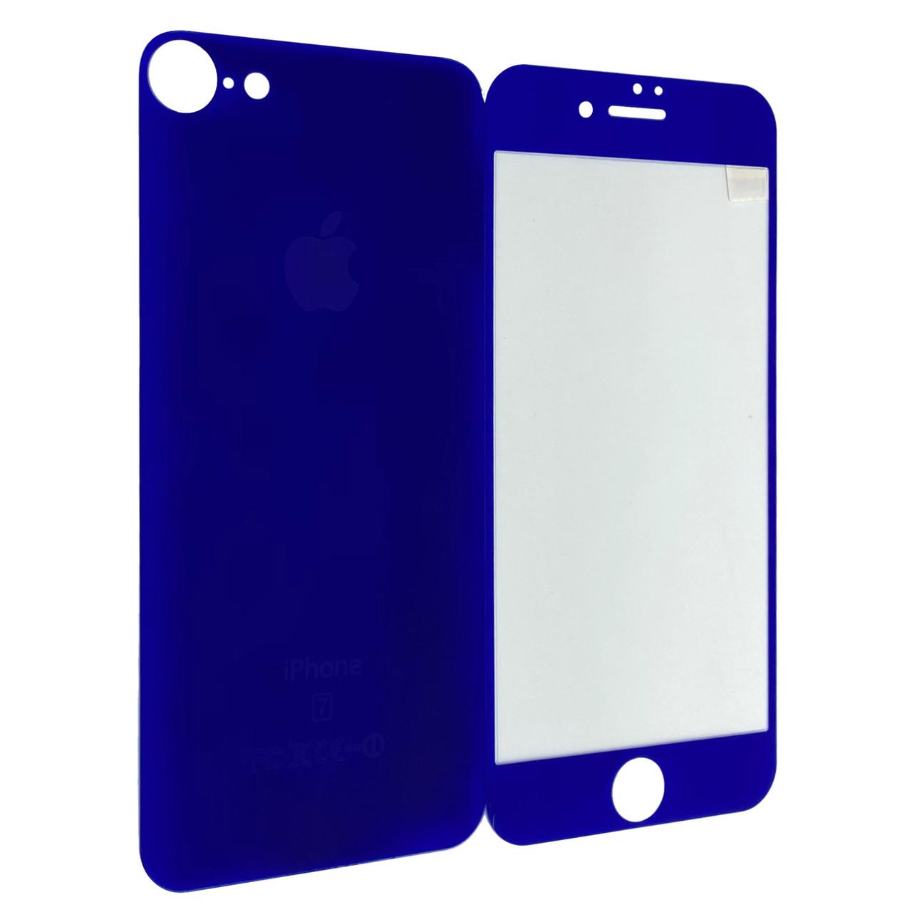 Защитное стекло  for Apple iPhone 7 matt back/face dark blue