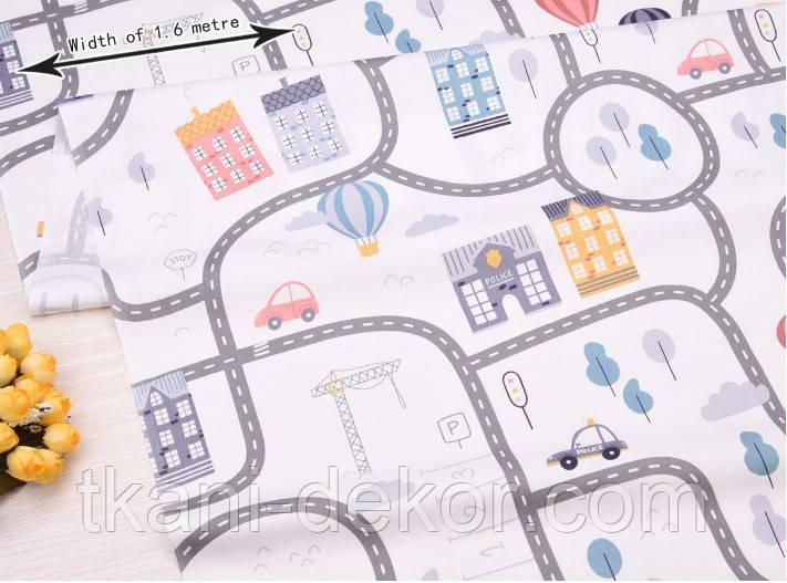 Сатин (хлопковая ткань) дорожки (дороги) (85*160)
