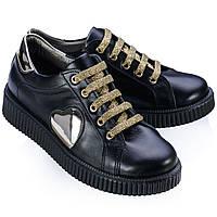 Туфли для девочки,кожаные, спортивные,школьные.Турция.Theo Leo RN536 32 19.5 см Черные