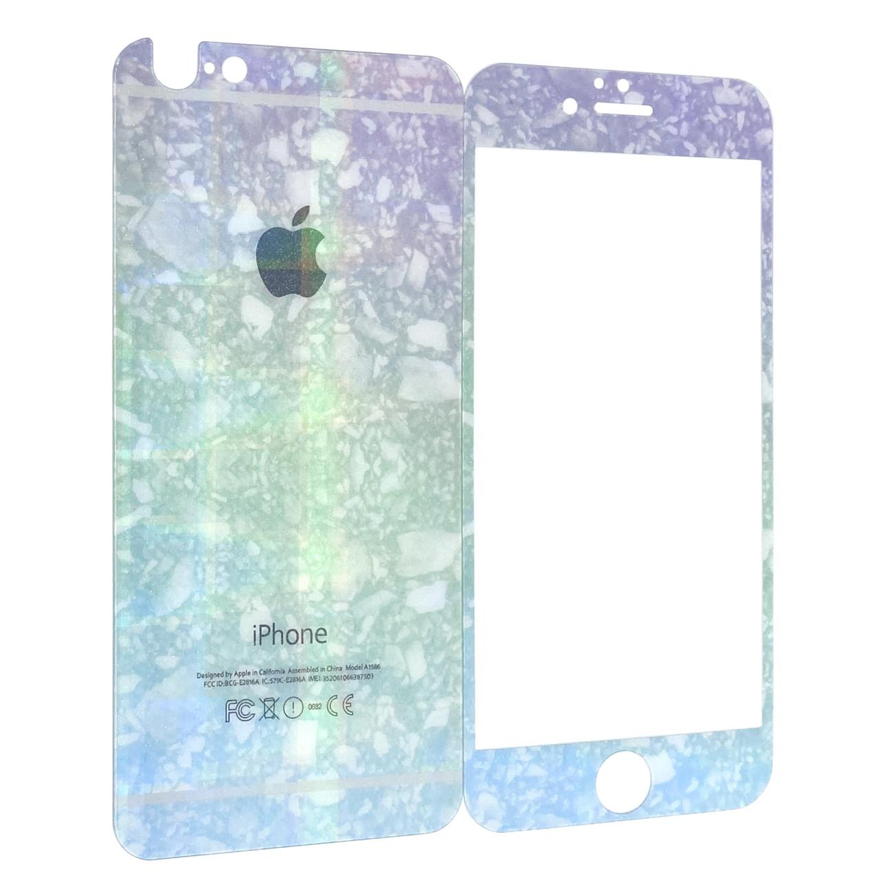 Захисне скло for Apple iPhone 6/6S перловий струмок back/face blue/green/violet