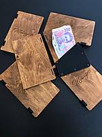 Деревянная счетница с кармашком из эко кожи
