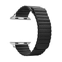 Ремешок для смарт-часов Apple Watch ALL Series 38mm Leather Loop Band Black (48655)