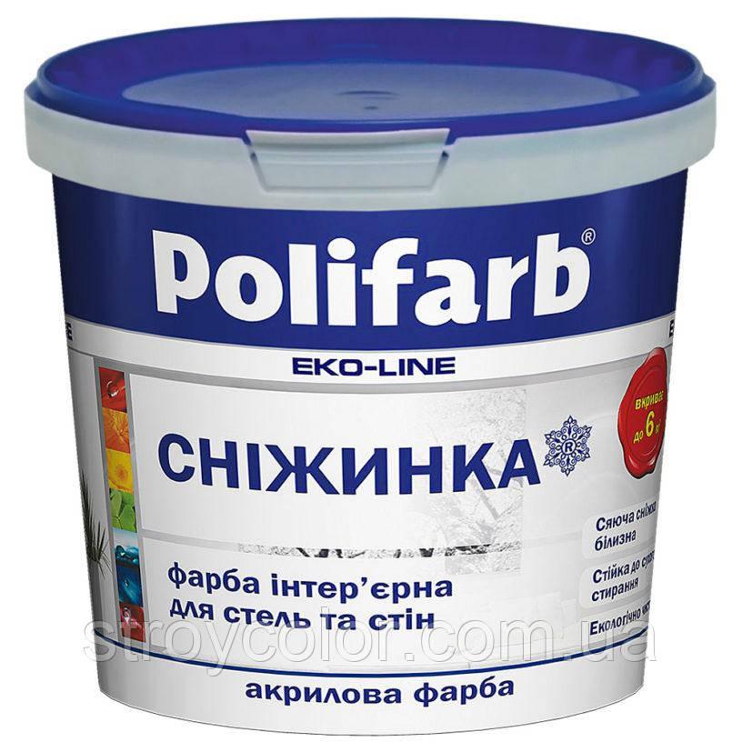 Краска интерьерная Снежинка Polifarb 4,2кг - 3л (Акриловая водоэмульсионка, Полифарб)