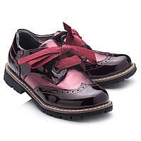 Туфли кожаные,лаковые,для девочки.Турция. Theo Leo RN781 р.28-35Бордовые